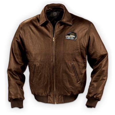 Gone fishing mens leather jacket for Leather jacket fish