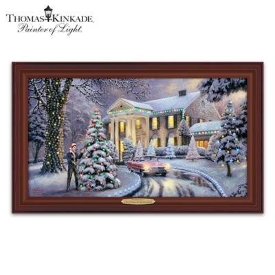 Thomas Kinkade Christmas At Elvis Presleys Graceland Home Illuminated Canvas Print Wall Decor