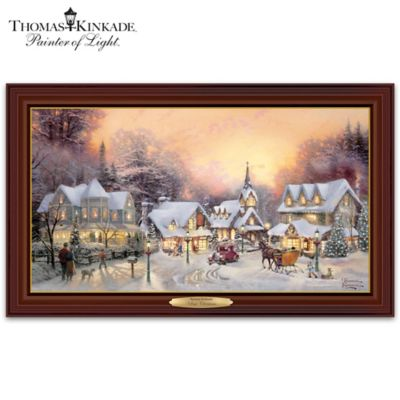Thomas kinkade village christmas canvas print wall decor Home interiors thomas kinkade prints