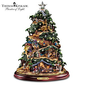 Kinkade Illuminated Musical Tabletop Nativity Story Tree