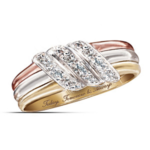 """Today, Tomorrow, Always"" 10K Gold Diamond Ring"