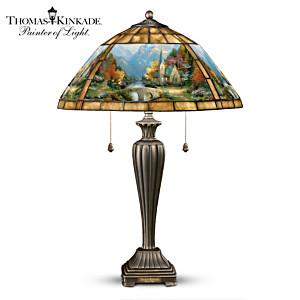 "Thomas Kinkade ""Mountain Chapel"" Stained-Glass Table Lamp"