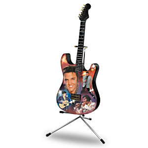 "Elvis ""The King Of Rock 'N' Roll"" Lighted Guitar Sculpture"
