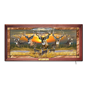 "Al Agnew ""10-Point Buck"" Illuminated Stained-Glass Panorama"