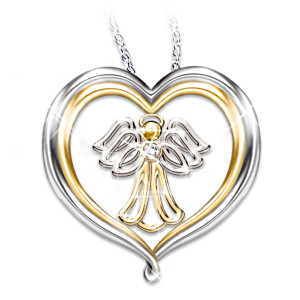 Guardian Angel Diamond Pendant For Granddaughter