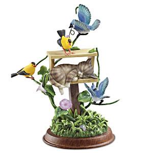 """Unexpected Guest"" Cat And Bird Sculpture"