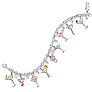 """Happy Hour"" Swarovski Crystal Martini Charm Bracelet"