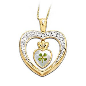 """Diamond Blessings"" Real 4-Leaf Clover Pendant Necklace"