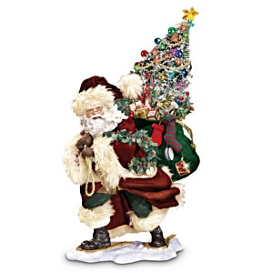 """Bringing Christmas Cheer"" Santa Figurine With Lights"