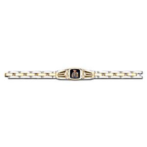 RCMP Men's Stainless Steel And Black Onyx Bracelet