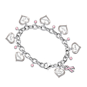Engraved Heart Charm Bracelet For Breast Cancer Awareness