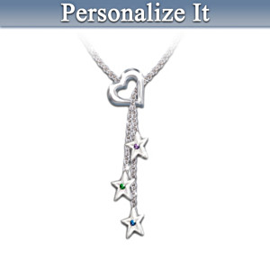 """Mother's Shining Stars"" Personalized Birthstone Necklace"