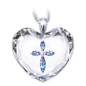 Swarovski Crystal Cross In Heart Pendant For Daughters