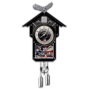 """Ride Hard, Live Free"" Motorcycle Wall Clock"