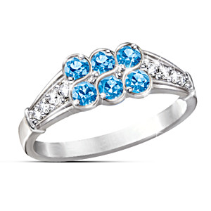 """The Blue Splendor"" Topaz And Diamond Ring"