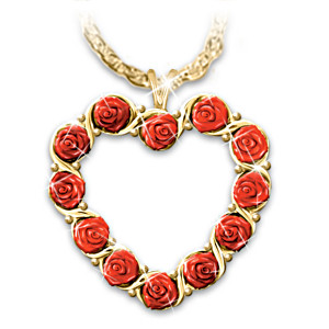 "The ""Dozen Roses"" Heart Pendant Necklace"