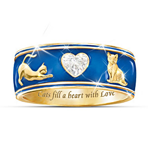 """Cats Fill A Heart With Love"" Enamel And Crystal Ring"