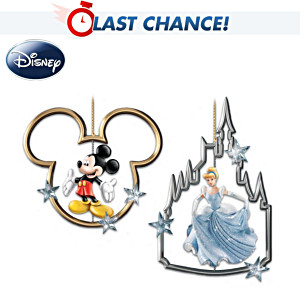Mickey Mouse And Cinderella Christmas Ornaments