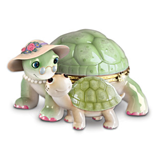 """Grandma's Little Sweetheart"" Porcelain Turtle Music Box"