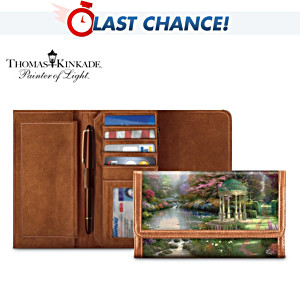 Thomas Kinkade Garden Art Leather Wallet For Women