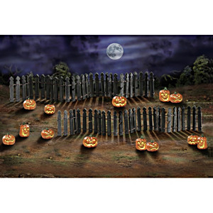 Rickety Fence And Jack O'Lantern Halloween Village Accessory