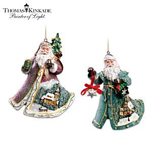 "Thomas Kinkade ""Sugar-Coated"" Santa Ornaments: Set Of Two"