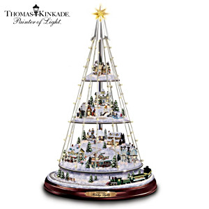 Kinkade 3-Level Tree With Festive Homes, Wired Lighting