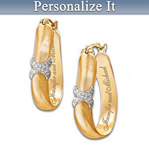 """Everlasting Kiss"" Personalized Diamond Earrings"