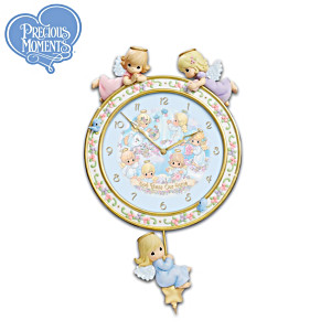 "Precious Moments ""God Bless Our Home"" Angel Clock"