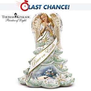 "Thomas Kinkade Jewelled ""Christmas Angel Of Peace"" Figurine"