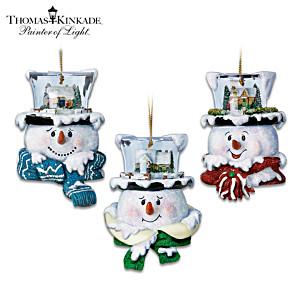 "Thomas Kinkade ""Top Of The Season"" Snowman Ornaments"
