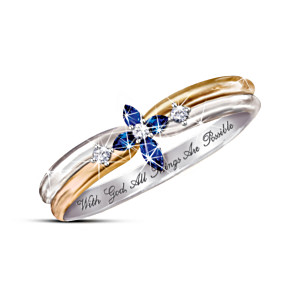 The Holy Trinity Sapphire And Diamond Cross  Ring