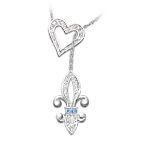 Heart of Quebec Fleur de Lis Crystal Necklace