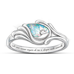 """Je Suis Avec Toi"" Diamond & Created Opal Silver Ring"