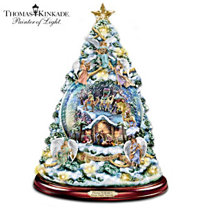 Illuminated Musical Thomas Kinkade Snowfall Nativity Tree