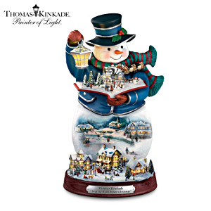 Kinkade Snowman With Classic Recording Of Holiday Poem