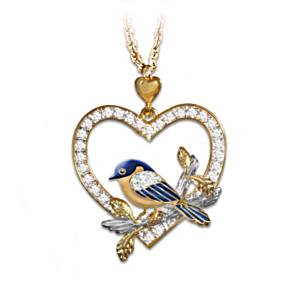 Bluebird Pendant Necklace With Swarovski Crystals
