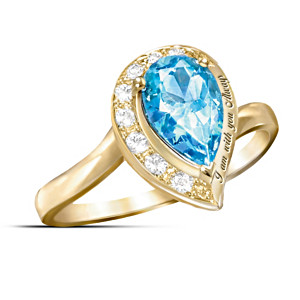 """I Am With You Always"" Blue Topaz Journey Ring"