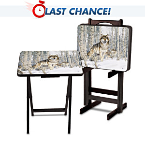 Wood Tray Table Set With Al Agnew Wolf Art