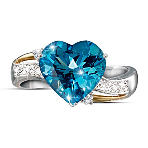Heart-Shaped Blue Topaz And Diamond Ring