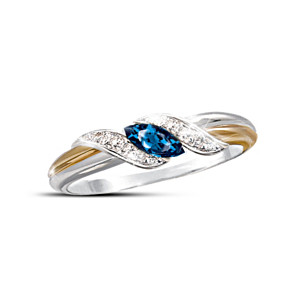 "Marquise-Cut Sapphire and Pavé Diamond ""Embrace"" Ring"