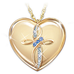 Diamond And Sapphire Engraved Pendant For Daughters
