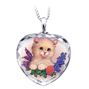 Jürgen Scholz Darling Kitten Art Crystal Pendant