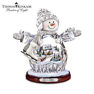Thomas Kinkade Illuminated Crystal Snow Girl Figurine