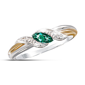 """Emerald And Diamond Embrace"" Ring"