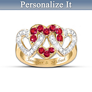 "The ""Love's Embrace"" 10-Ruby Ring With FREE Personalization"