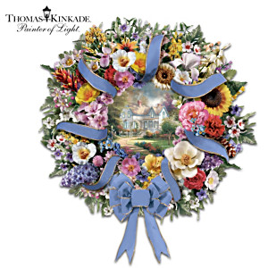 Thomas Kinkade Art Wreath With 50 Sculpted Flowers