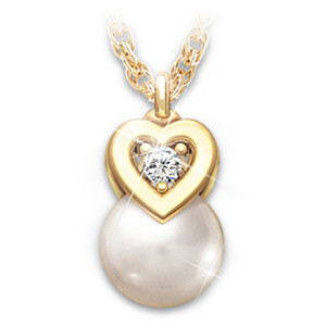 """Precious Granddaughter"" Cultured Pearl And Diamond Pendant"