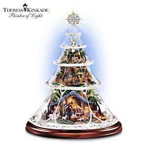 Thomas Kinkade Illuminated Sculptural Nativity Crystal Tree