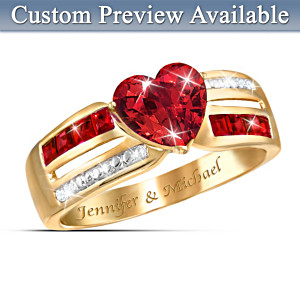 The 9-Garnet 4-Diamond Ring With FREE Personalization